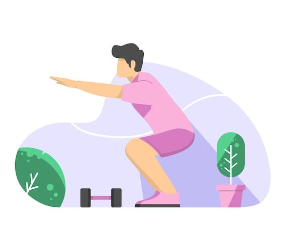 Homme faisant des squats vector illustration plat Vecteur Premium
