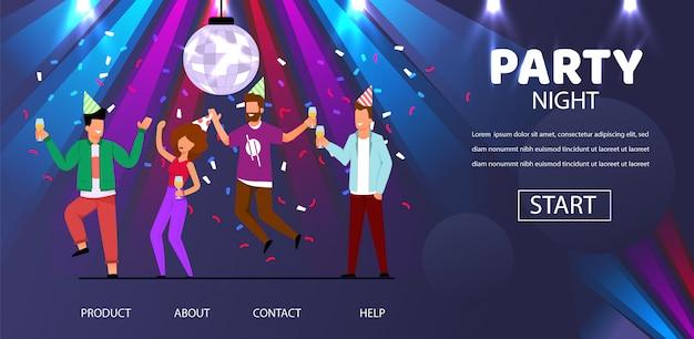 Homme femme amis danse fête nuit illustration Vecteur Premium