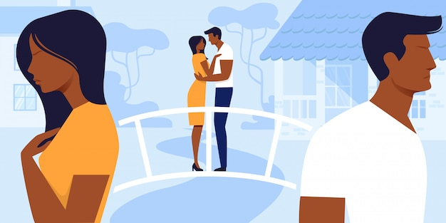 Homme et femme amour et relations. Vecteur Premium