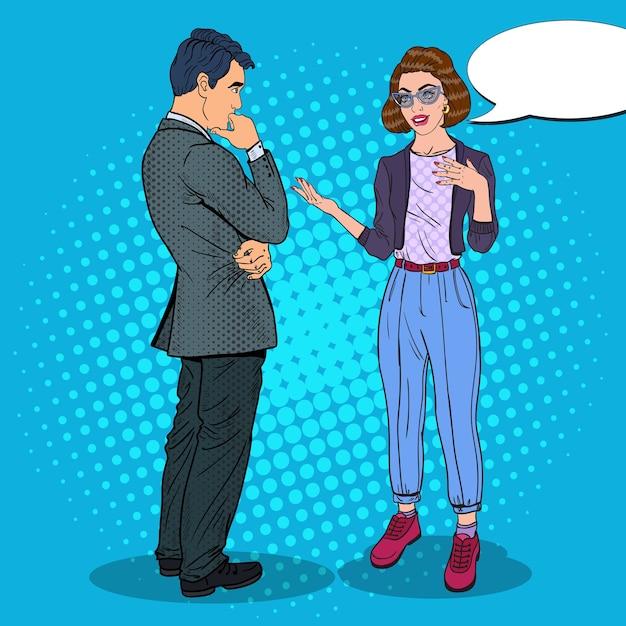 Homme Et Femme Ayant Une Conversation Vecteur Premium