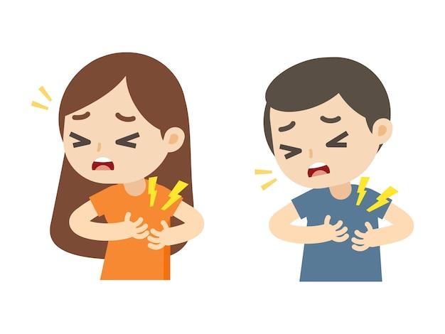 Homme et femme ayant une crise cardiaque avec dessin animé de douleur à la poitrine, illustration vectorielle. Vecteur Premium