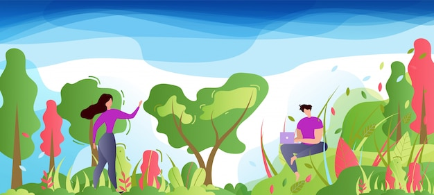 Homme et femme de la bande dessinée dans un parc ou une forêt. Vecteur Premium