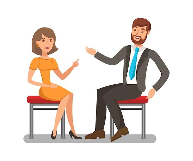 Homme, femme, conversation, plat Vecteur Premium