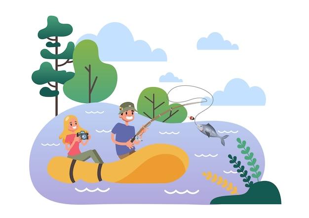 Homme Et Femme Dans Le Bateau En Caoutchouc De Pêche Vecteur Premium