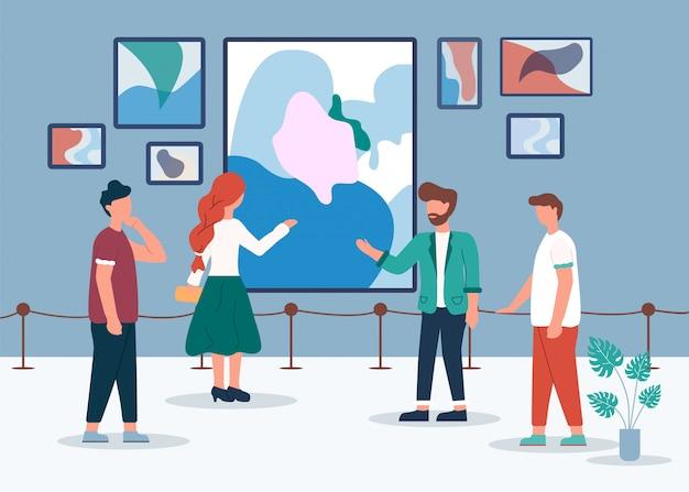 Homme femme dans la galerie d'art look abstract painting Vecteur Premium