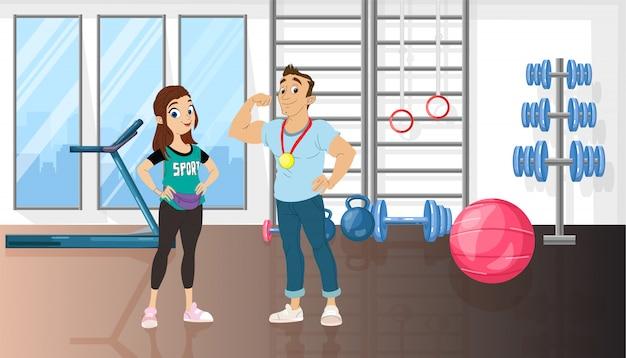 Homme et femme dans une salle de sport Vecteur Premium
