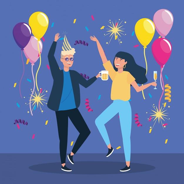Homme et femme dansant avec décoration de confettis Vecteur gratuit