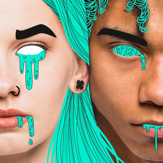 Homme et femme avec détails illustrés en vert Vecteur gratuit