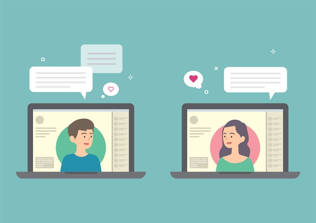 Homme et femme discutant sur internet, concept de rencontres en ligne, illustration vectorielle. Vecteur Premium