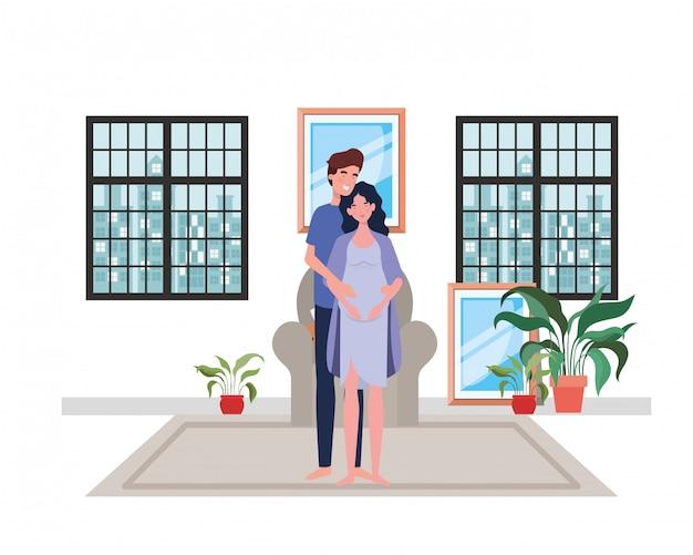 Homme et femme enceinte isolé Vecteur Premium