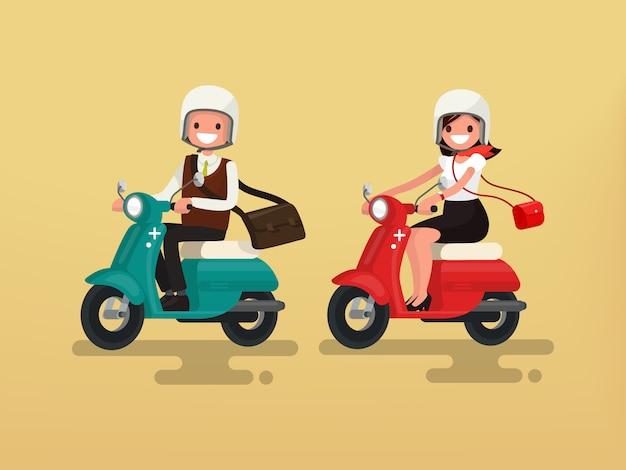 Homme Femme, équitation, Sur, Leur, Motos, Illustration Vecteur Premium