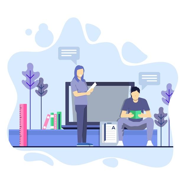 Homme et femme étudient ensemble illustration concept Vecteur Premium