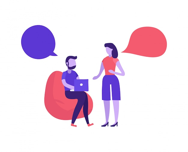 Homme Et Femme Parlant En Coworking Vecteur Premium