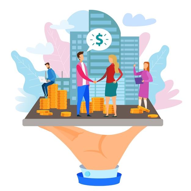 Homme femme, poignée monnaie, pile, bâtiment, silhouette Vecteur Premium