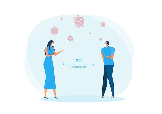Homme Et Femme Portant Un Masque Médical Et Distance Sociale Vecteur Premium