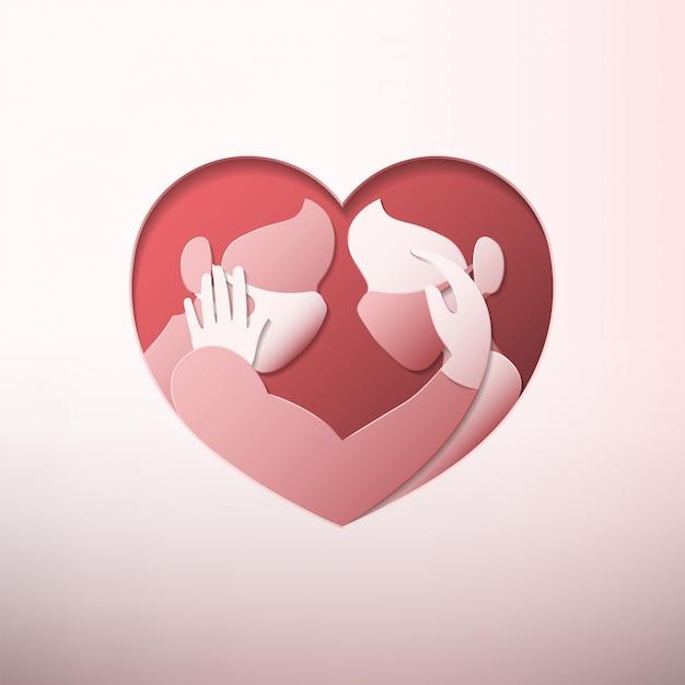 Homme Et Femme Portant Des Masques Médicaux Et Des Gants En Caoutchouc à L'intérieur D'un Cadre En Forme De Coeur Dans Un Style Art Papier Vecteur Premium
