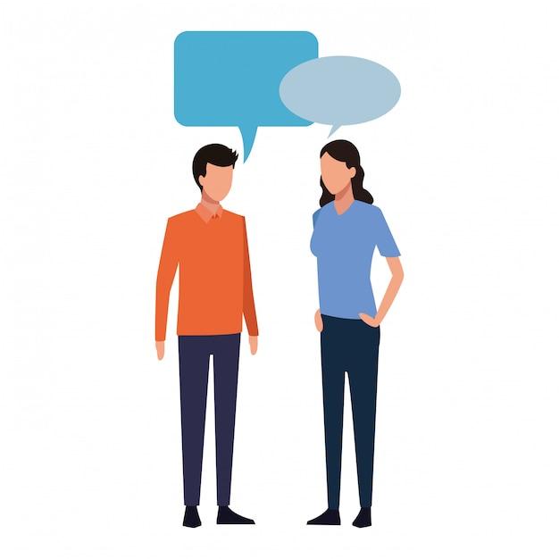 Homme et femme qui parle Vecteur Premium