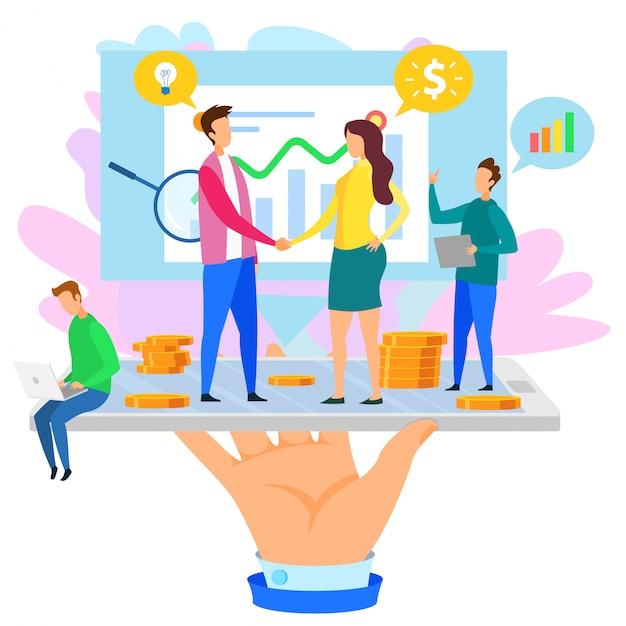 Homme femme serrer la main personnes équipe recherche analytique Vecteur Premium
