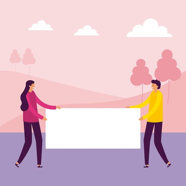 Homme et femme tenant des bannières Vecteur gratuit