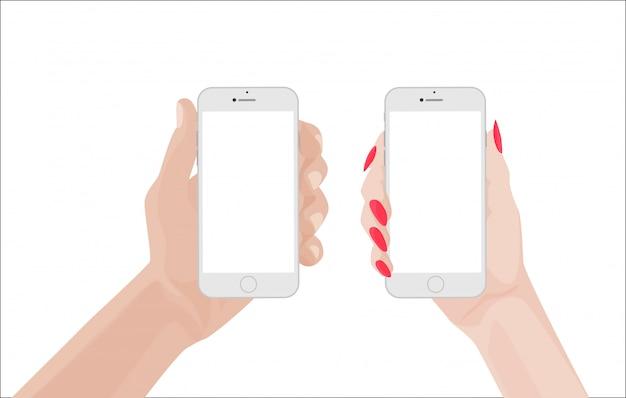 Homme et femme tenant un smartphone blanc Vecteur Premium