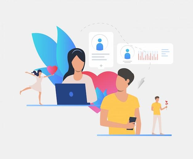 Homme et femme textos sur le site de rencontre Vecteur gratuit