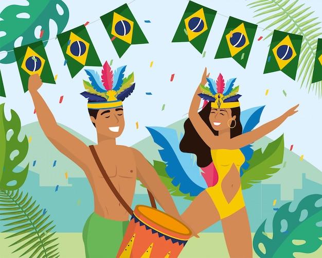 Homme et fille danseurs avec tambour et costume Vecteur Premium