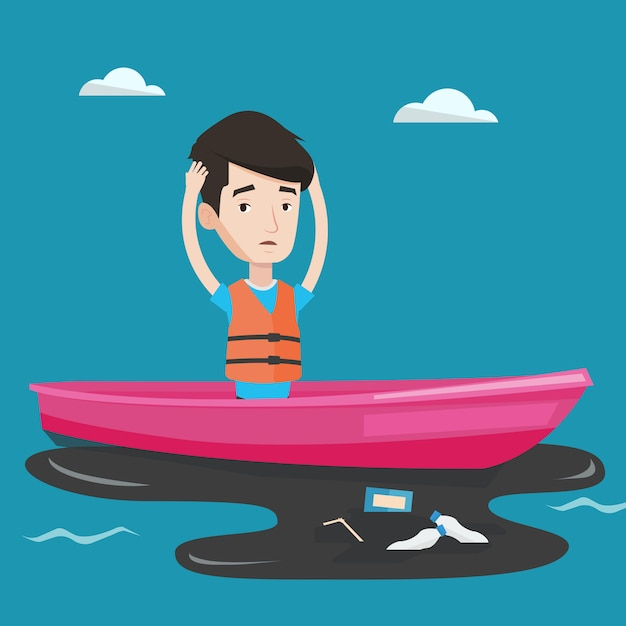 Homme Flottant Dans Un Bateau Dans L'eau Polluée. Vecteur Premium