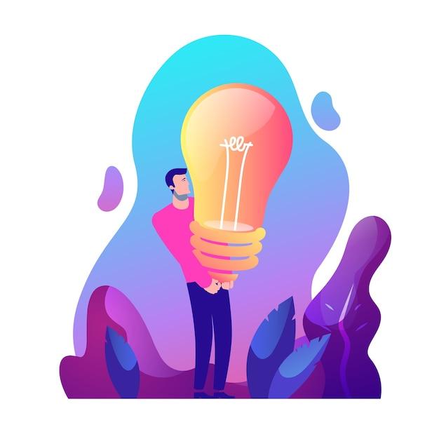 Homme Fort Et Idée Créative Vecteur Premium