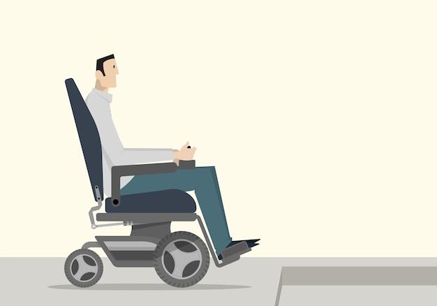 Un Homme Handicapé Dans Un Fauteuil Roulant Motorisé Qui Ne Peut Pas Descendre L'escalier. Vecteur Premium
