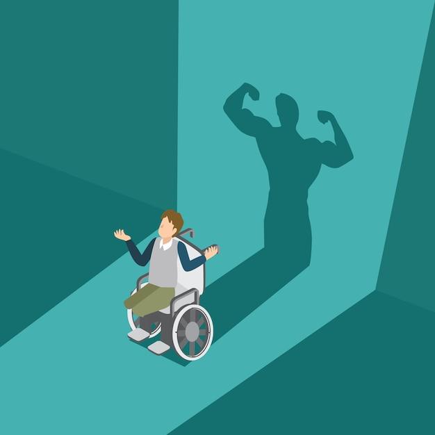 Un homme handicapé a une ombre puissante Vecteur Premium