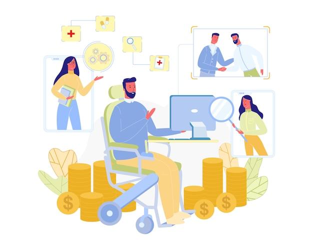 Homme handicapé travaille à la maison avec ordinateur Vecteur Premium