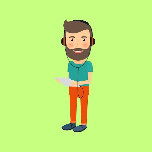 Homme de hipster avec gadget et casque Vecteur Premium