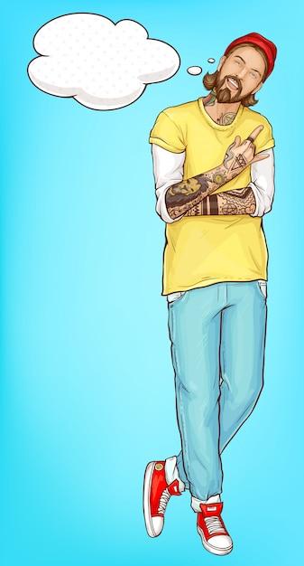 Homme de hipster heureux montrant le vecteur de signe de cornes Vecteur gratuit