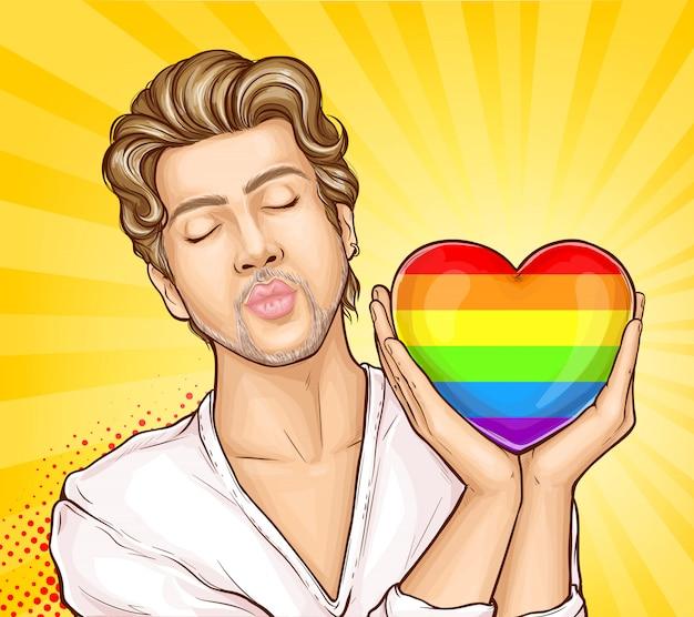 Homme homosexuel avec le vecteur de dessin animé coeur arc-en-ciel Vecteur gratuit