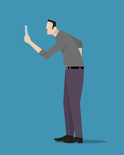 Homme Hypnotisé Depuis Son Téléphone Vecteur Premium