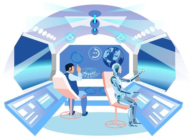 L'homme et l'ia robot. Vecteur Premium
