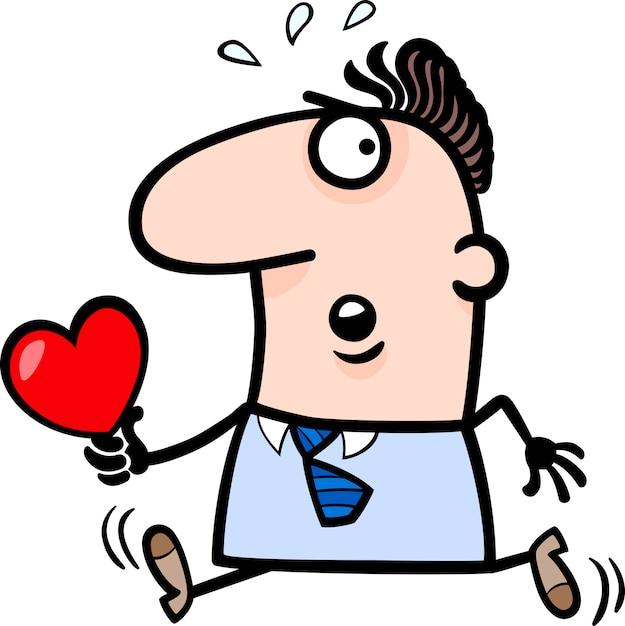 Homme Avec Illustration De Dessin Anime Carte Saint Valentin