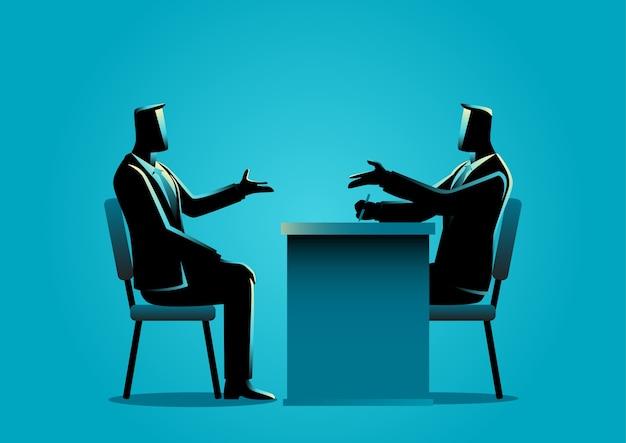 Homme Interviewé Par Un Recruteur Vecteur Premium