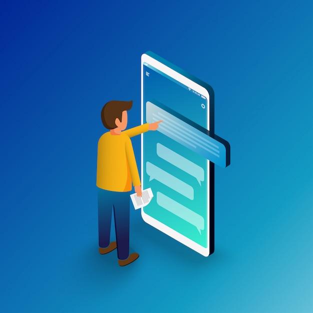 Homme Isométrique En Tapant Sur Un Smartphone Mobile Vecteur Premium