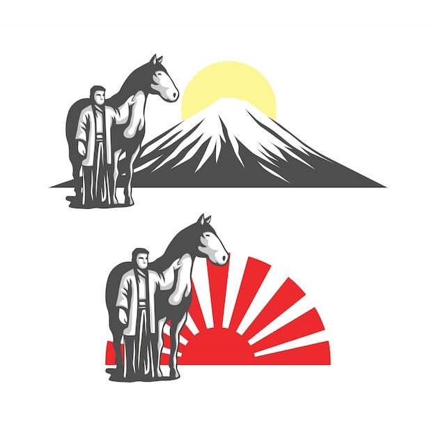 Homme Japonais Avec Illustration Vectorielle De Cheval Logo Vecteur Premium