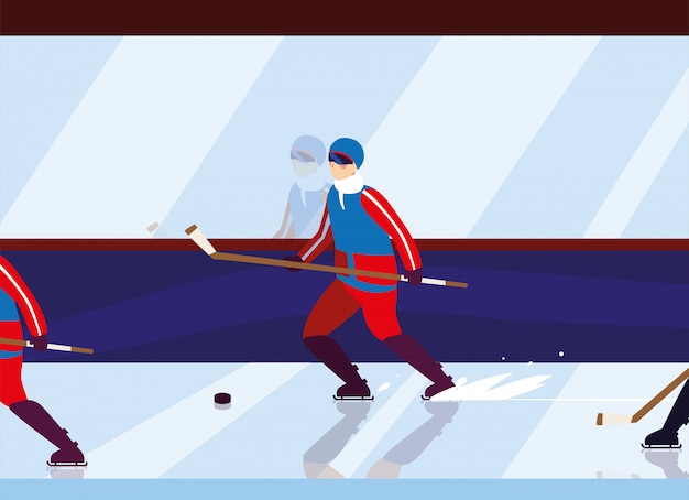 Homme Jouant Au Hockey, Joueur De Hockey Avec Bâton De Hockey, Rondelle De Hockey Sur Glace Vecteur Premium