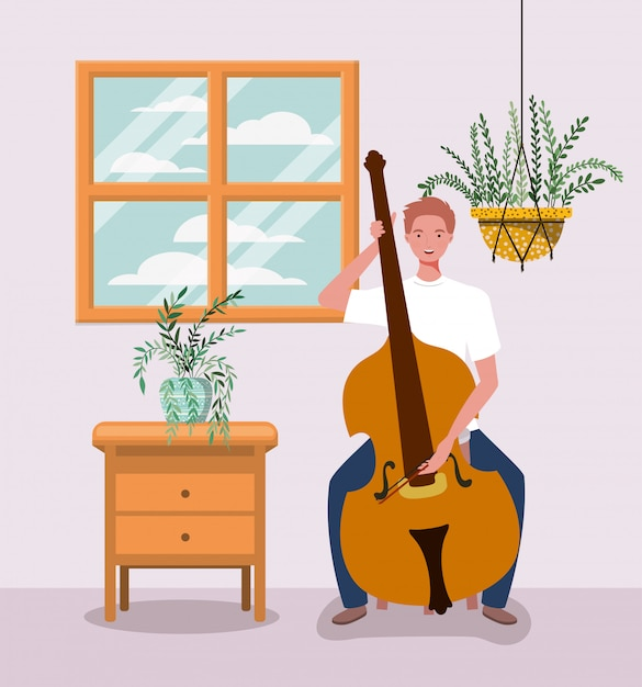 Homme jouant le caractère d'instrument de violoncelle Vecteur Premium