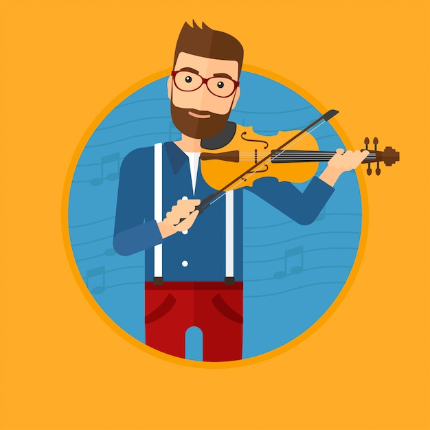 Homme jouant du violon. Vecteur Premium