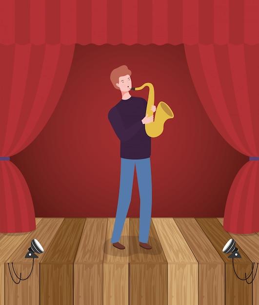 Homme jouant le personnage d'avatar de saxophone Vecteur Premium