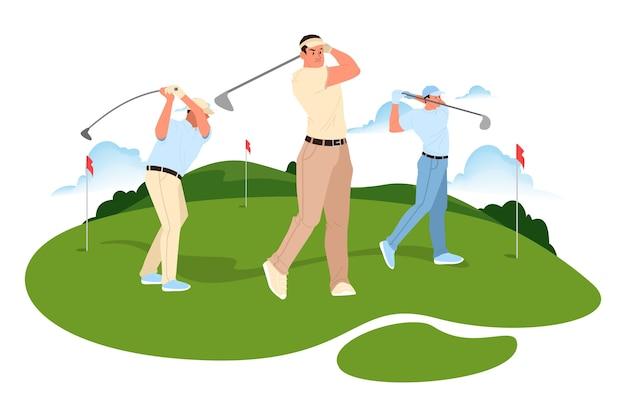L'homme Joue Au Golf. Homme Tenant Un Club De Golf Et Frapper La Balle. Vie En Plein Air Saine. Vecteur Premium