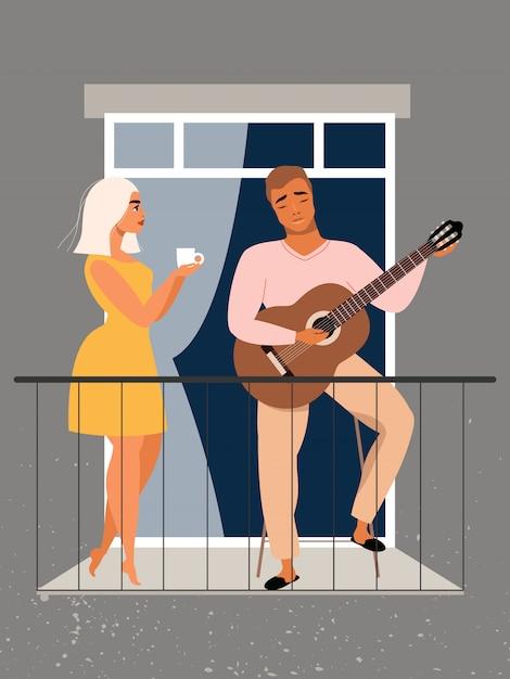 L'homme Joue De La Guitare Sur Le Balcon. Couple Amoureux. Concept De Quarantaine Et D'auto-isolement. Famille Restant à La Maison Pendant La Pandémie. Beau Couple Dans La Fenêtre. Homme Et Femme Debout Sur Le Balcon. Vecteur Premium