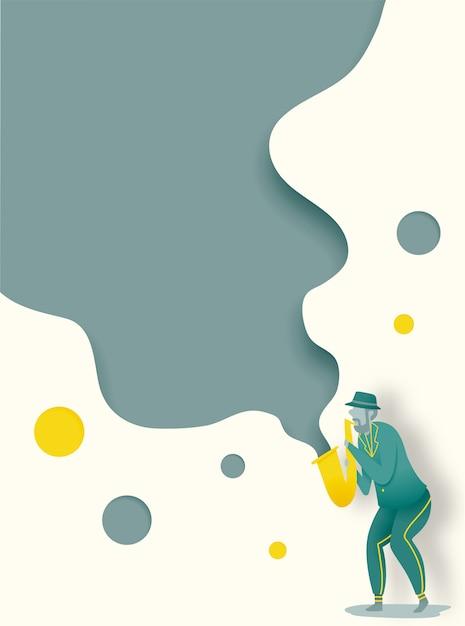 Homme jouer saxophone en dribble et illustration vectorielle de papier art style Vecteur Premium