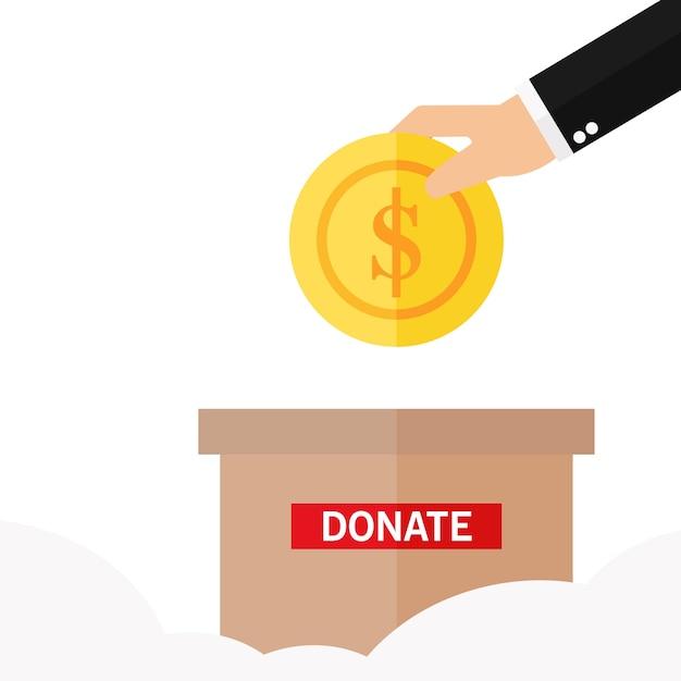 Un homme lance une pièce d'or dans une boîte pour faire un don Vecteur Premium