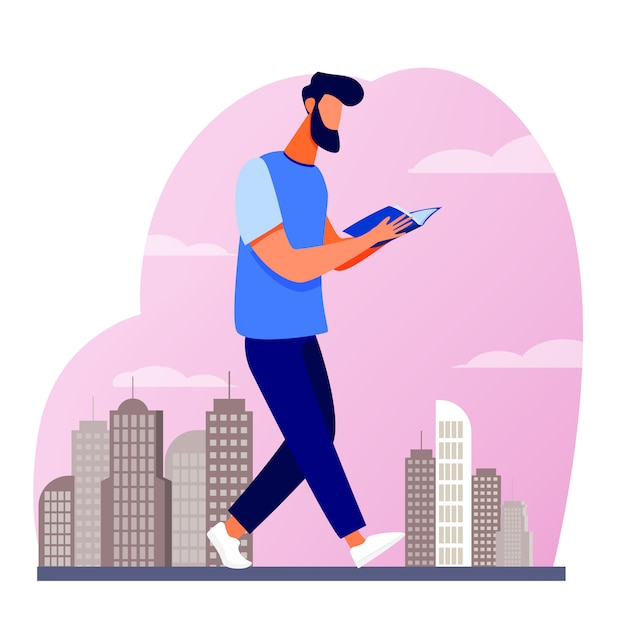 Homme Lisant Un Livre En Marchant Dans La Ville Vecteur gratuit
