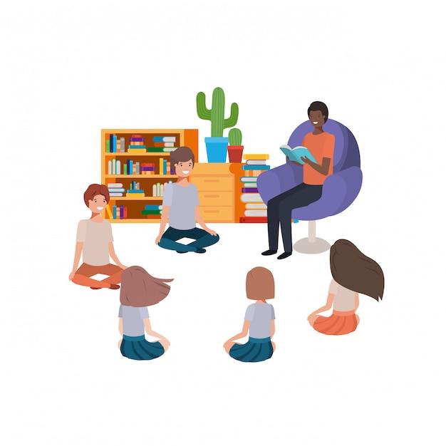 Homme avec livre de lecture dans le canapé et enfants Vecteur gratuit